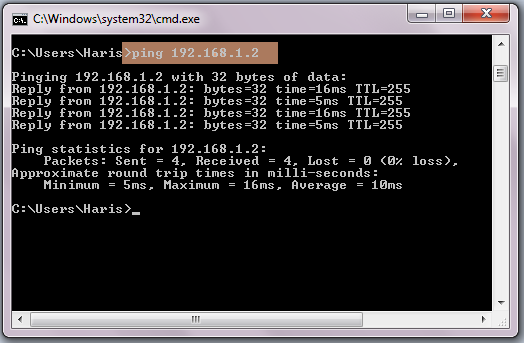 Ping in command prompt